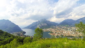 Panoramic aerial view of Lake Como and Lecco city, Italy stock video