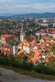 Panoramic aerial view of Ljualjana, the capital of Slovenia Royalty Free Stock Photography