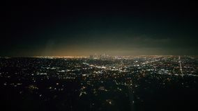 Panoramic aerial view of Los Angeles city at night. With skyscrapers at horizon, California, United States of America Stock Photos