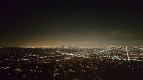 Panoramic aerial view of Los Angeles city at night. With skyscrapers at horizon, California, United States of America Stock Image