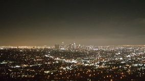 Panoramic aerial view of Los Angeles city at night. With skyscrapers at horizon, California, United States of America Royalty Free Stock Photography