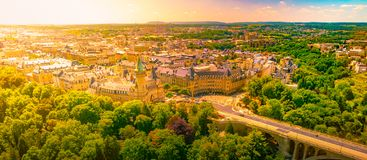 Panoramic aerial view of Luxembourg in a beautiful summer day, Luxembourg royalty free stock image