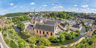 Panoramic aerial view on Luxembourg City Stock Photography
