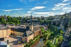 Panoramic aerial view of Luxembourg stock photography