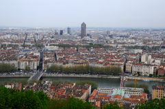 Panoramic aerial view at Lyon. Panorama of the inner city of Lyon, taken from the basilica of Notre-Dame de Fourvière Royalty Free Stock Images