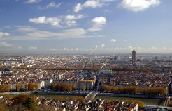 Panoramic aerial view at Lyon. The panoramic aerial view at Lyon from Basilique de Fourviere hill. Lyon. France Stock Photography