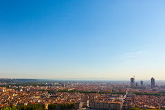 Panoramic aerial view at Lyon from above Royalty Free Stock Photo