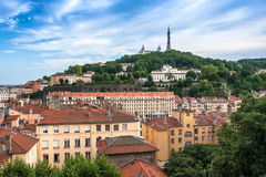 The panoramic aerial view at Lyon on Basilique de Fourviere hill Stock Photos