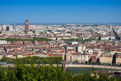 The panoramic aerial view at Lyon, France. The panoramic aerial view at Lyon from Basilique de Fourviere hill. Lyon. France Stock Photo