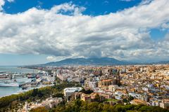 Aerial view of Malaga in a beautiful spring day, Spain royalty free stock photography