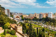Aerial view of Malaga in a beautiful spring day, Spain stock photos