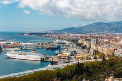 Aerial view of Malaga in a beautiful spring day, Spain stock photography