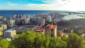 Panoramic aerial view of Malaga city, Andalusia, Spain. Panoramic aerial view of Malaga city, Costa del Sol, Andalusia, Spain. Cityscape of La Malagueta district stock footage