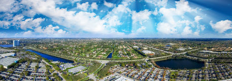 Panoramic aerial view of mall parking area at dusk Royalty Free Stock Image