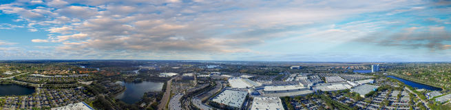 Panoramic aerial view of mall parking area at dusk.  Royalty Free Stock Photography