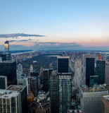 Panoramic aerial view of Manhattan and Central Park at sunset - New York, USA Stock Image