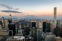 Panoramic aerial view of Manhattan and Central Park at sunset - New York, USA Stock Photo
