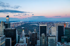 Panoramic aerial view of Manhattan and Central Park at sunset - New York, USA Stock Photography