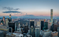 Panoramic aerial view of Manhattan and Central Park at sunset - New York, USA Stock Photos