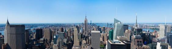 Panoramic aerial view of Manhattan  in New York - USA Stock Photo