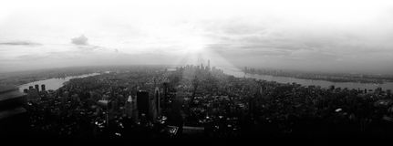 Panoramic aerial view of Manhattan skyline Royalty Free Stock Images