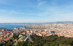 Panoramic aerial view on Marseille from mountain Stock Image