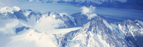 Panoramic aerial view at 3400 meters of glaciers and Andes Mountains, Patagonia, Argentina Royalty Free Stock Photos