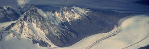 Panoramic aerial view at 3400 meters of glaciers and Andes Mountains, Patagonia, Argentina Stock Photos