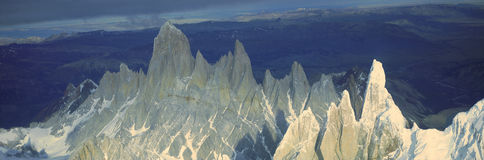 Panoramic aerial view at 3400 meters of Mount Fitzroy, Cerro Torre Range and Andes Mountains, Patagonia, Argentina Royalty Free Stock Images