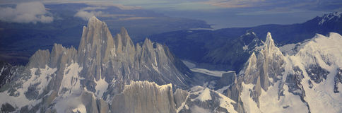 Panoramic aerial view at 3400 meters of Mount Fitzroy, Cerro Torre Range and Andes Mountains, Patagonia, Argentina Royalty Free Stock Photo