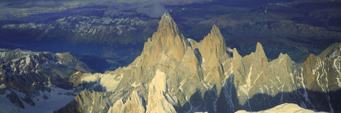 Panoramic aerial view at 3400 meters of Mount Fitzroy, Cerro Torre Range and Andes Mountains, Patagonia, Argentina royalty free stock photography