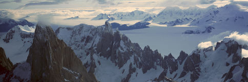 Panoramic aerial view at 3400 meters of Mount Fitzroy, Cerro Torre Range and Andes Mountains, Patagonia, Argentina Stock Images