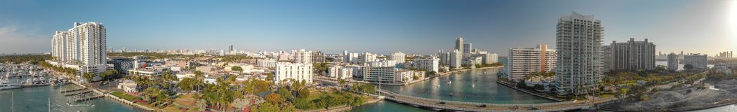 Panoramic aerial view of Miami Beach and Venetian Way on a beaut. Iful afternoon Royalty Free Stock Images