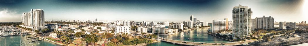 Panoramic aerial view of Miami Beach and Venetian Way on a beaut. Iful afternoon Stock Images