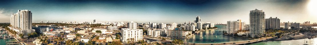 Panoramic aerial view of Miami beach and Venetian Way from Mauri. Ce Gibb Memorial Park Royalty Free Stock Photo