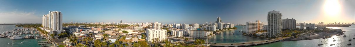 Panoramic aerial view of Miami beach and Venetian Way from Mauri. Ce Gibb Memorial Park Royalty Free Stock Photos