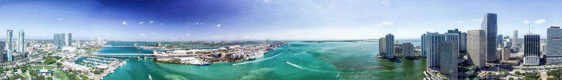Panoramic aerial view of Miami at sunset stock photo