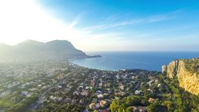 Panoramic aerial view of Mondello beach, Palermo, Sicily, Italy. Panoramic aerial evening view of Mondello beach Spiaggia di Mondello in Palermo, Sicily, Italy stock video footage