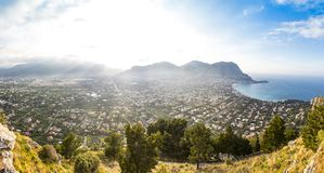 Panoramic aerial view of Mondello beach, Palermo, Sicily, Italy. Panoramic aerial evening view of Mondello beach Spiaggia di Mondello in Palermo, Sicily, Italy royalty free stock images