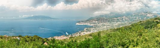 Panoramic aerial view of Mount Vesuvius, Bay of Naples, Italy. Panoramic aerial view of Mount Vesuvius and the town of Sorrento, Bay of Naples, Italy stock photo