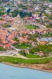 Mtskheta, Georgia and rivers Mtkvari and Aragvi. Panoramic aerial view of Mtskheta, Georgia with rivers Mtkvari or Kura and Aragvi, Svetitskhoveli Cathedral Stock Photos