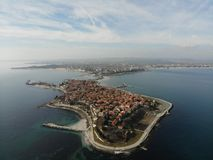 Panoramic aerial view from Nessebar. royalty free stock image