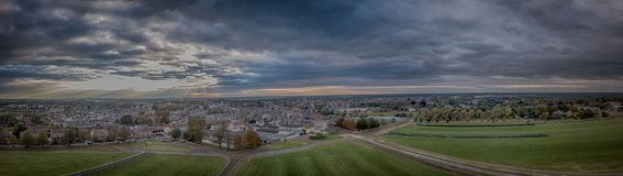 Panoramic Aerial View of Newmarket. A stunning wide panorama of the home of Horse Racing, the town of Newmarket in Suffolk. It is photogaphed from the famous royalty free stock photos