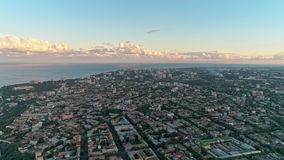 Panoramic aerial view of Odessa city with sea coastline against nice cloudy sky. High panoramic aerial view of Odessa city with sea coastline against nice cloudy stock video