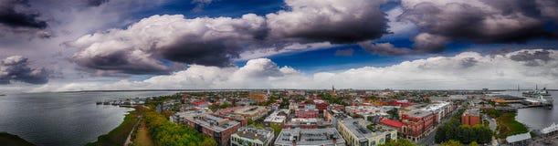 Free Panoramic Aerial View Of Charleston Coastline At Dusk, SC - USA Stock Image - 118441181