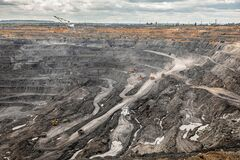 Free Panoramic Aerial View Of Coal Mine. Open Pit Mine Industry, Big Yellow Mining Truck For Coal Quarry. Open Coal Mining Stock Image - 198036171