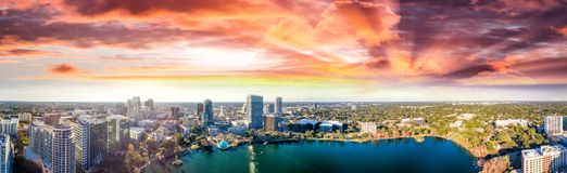 Panoramic Aerial View Of Lake Eola And Surrounding Buildings, Or Royalty Free Stock Photos