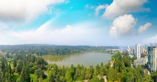 Free Panoramic Aerial View Of Stanley Park And Vancouver Cityscape, B Royalty Free Stock Images - 103763689