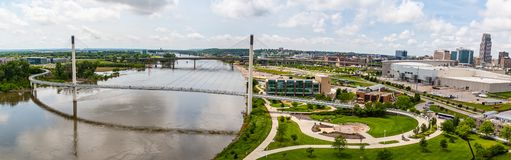 Free Panoramic Aerial View Of The Missouri River And The Entire Bob Kerrey Bridge Omaha Nebraska Stock Photography - 151371462