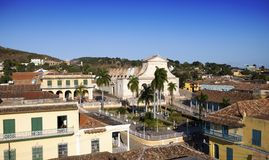 Panoramic aerial view on old houses of the city Trinidad, Cuba royalty free stock images